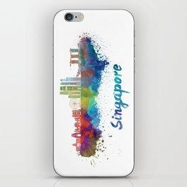 Singapore V2 skyline in watercolor iPhone Skin