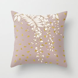 Wisteria in Gold Throw Pillow