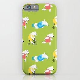 Polar Bear Triathletes Green iPhone Case