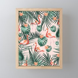 Tropical Flamingo Floral Summer Pattern #1 #tropical #decor #art #society6 Framed Mini Art Print