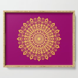 Gold yoga mandala Indian henna pattern Serving Tray