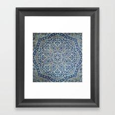 Gold Mandala on Blue Jeans Framed Art Print