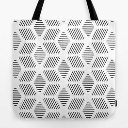 Geometric Line Lines Diamond Shape Tribal Ethnic Pattern Simple Simplistic Minimal Black and White Tote Bag