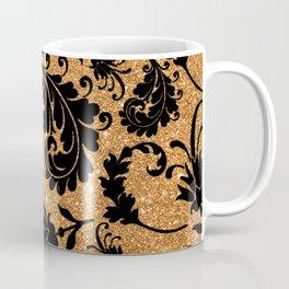 Vintage black faux gold glitter floral damask pattern Coffee Mug