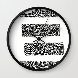 Letter E Black/White Abstract, (Ink Drawing) Wall Clock