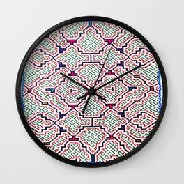 Song for Good Work - Traditional Shipibo Art - Indigenous Ayahuasca Patterns Wall Clock