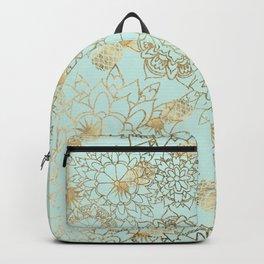 Modern teal faux gold pineapple floral illustration Backpack