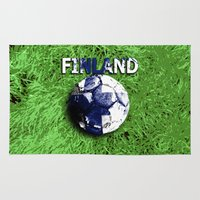 finland Area & Throw Rugs featuring Old football (Finland) by seb mcnulty
