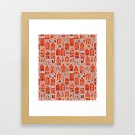 Red Orange Holland Houses Framed Art Print