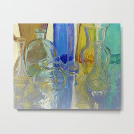 Colored Glass in Blue and Gold Metal Print
