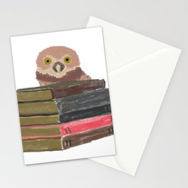 Owl with books Stationery Cards