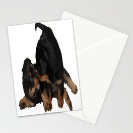 Rottweiler Puppies Playing Vector Isolated Stationery Cards