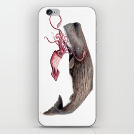 Epic battle between the sperm whale and the giant squid iPhone Skin