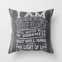 bible verses Throw Pillows featuring Typographic Motivational Bible Verses - John 8:12 by The Wooden Tree
