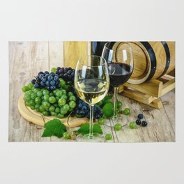 Glasses of Wine plus Grapes and Barrel Rug