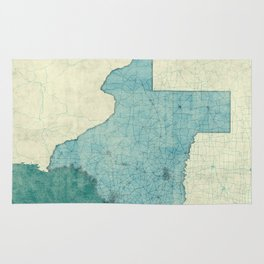 Texas State Map Blue Vintage Rug