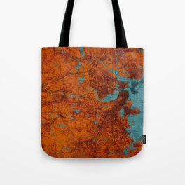 Boston 1893 old map, blue and orange artwork, cartography Tote Bag