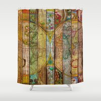maps Shower Curtains featuring Around the World in Thirteen Maps by Diego Tirigall
