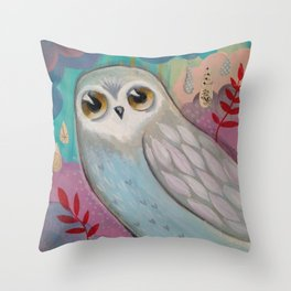 Winter Owl by cj metzger Throw Pillow