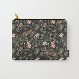 Vintage tropical exotic illustration pattern with orchid, green leaves. Butterflies, leopard watercolor hand painted on dark background Carry-All Pouch