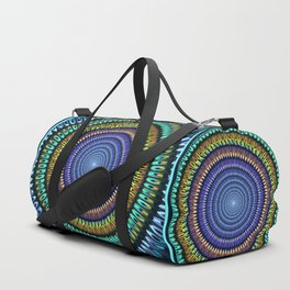 Colourful radiant abstract mandala Duffle Bag