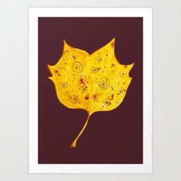Fancy Watercolor Yellow Autumn Leaf Art Print