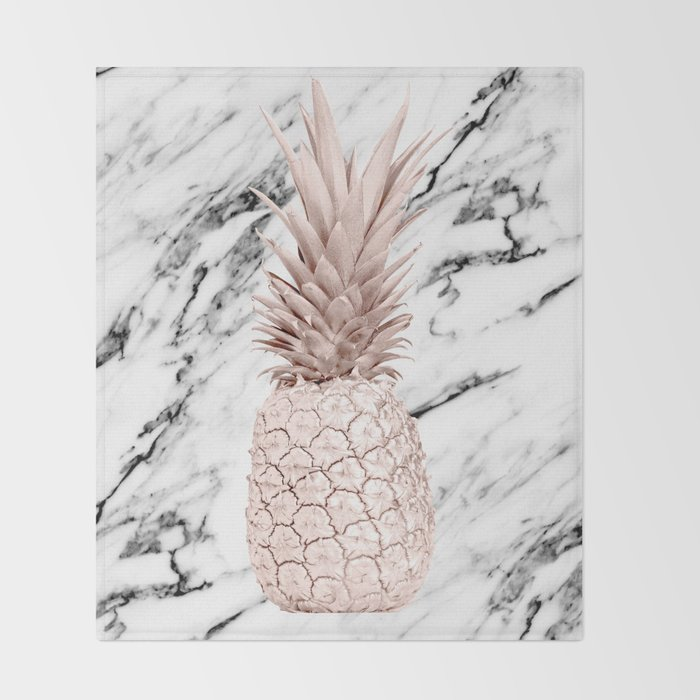 Rose Gold Pineapple on Black and White Marble Throw Blanket