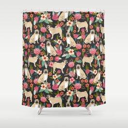 Pugs of spring floral pug dog cute pattern print florals flower garden nature dog park dog person  Shower Curtain