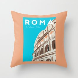 Rome, Italy Colosseum / Roma Il Colosseo, Italia Travel Poster Throw Pillow