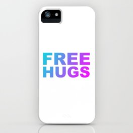 Free Hugs Typography - Minimal - Graphic Design Aqua Purple & Fuschia Gradient Lettering  iPhone Case