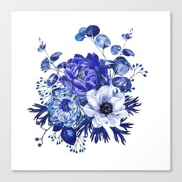 China Blue Porcelain, Asia, Peony, Flower, Floral, Cyan Canvas Print