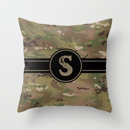 Camouflage Monogram: Letter S Throw Pillow
