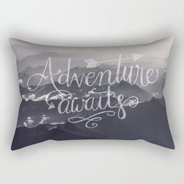 Adventure awaits Typography Gorgeous Mountain View Rectangular Pillow