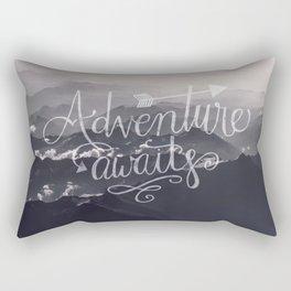 Adventure awaits Typography Gorgeous Mountain View Rectangular Pillow