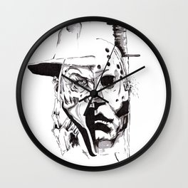 80's Horror Icons Inktober Drawing Wall Clock