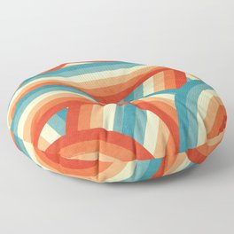 Red, Orange, Blue and Cream 70's Style Rainbow Stripes Floor Pillow
