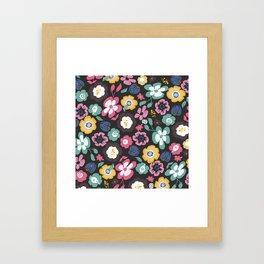flower garden at night retro pattern Framed Art Print