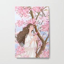 Girl In Flower Sea Metal Print