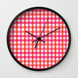 Gingham: Strawberry Flavor Wall Clock