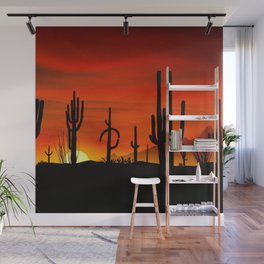 Illustration of cactus tree when the sunset Wall Mural