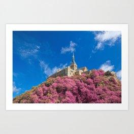 Mont Saint-Michel Abbey - Pink Fantasy Art Print