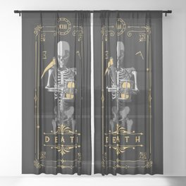 Death XIII Tarot Card Sheer Curtain