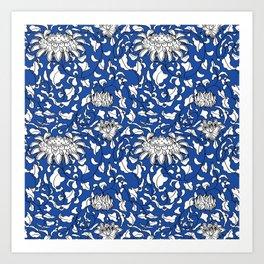 Chinoiserie Vines in White + Navy Blue Art Print