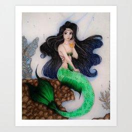 Coffee Mermaid Art Print