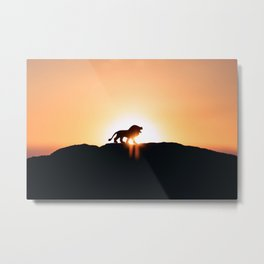 Lion Sunset Silhouette (Color) Metal Print