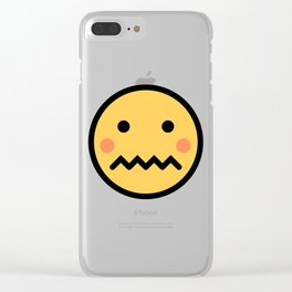 Smiley Face   A Bit Shamed Rosey Cheeks Expressionless Face Clear iPhone Case