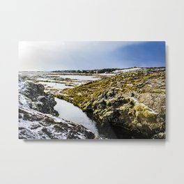 Water Running through the Continental Tectonic Plate Divide between the Eurasia and North American Tectonic Plates in the Silfra Fissure, Iceland Metal Print