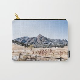 Flatirons Boulder // Colorado Scenery Mountain Landscape Snowfall Fence Line Carry-All Pouch
