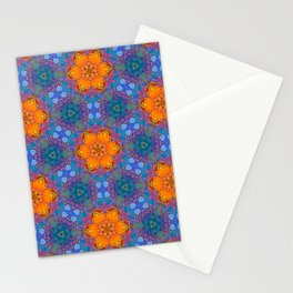 Orange Flowers Pattern Stationery Cards