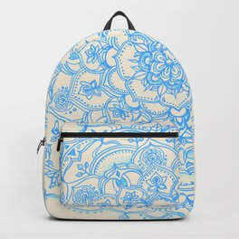 Pale Blue Pencil Pattern - hand drawn lace mandala Backpack